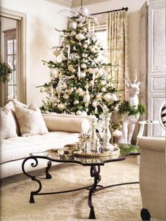 Beautiful White Christmas decorated living room.. LOVE Mercury Glass