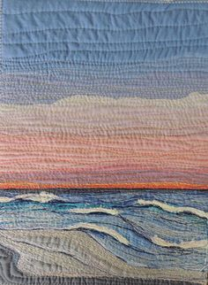"Textile Art Quilt, ""Endings"" , fabric stitched art piece thread painted on Etsy, $250.00 AUD"