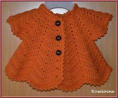 Gilet pétale et bonnet orangés pour bébé - Je tricote Tu crochètes Crochet World, Size Chart, Children, Blouse, Crochet Vintage, Sweaters, Baby, Gilets, Princesses