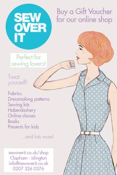 The perfect gift for any sewing lover or crafter anywhere in the world - a Sew Over It Online Shop Voucher. With fabric, sewing patterns, books, haberdashery and online sewing classes to choose from, there's something to get excited about for everyone! Buy here: http://sewoverit.co.uk/gift-vouchers/