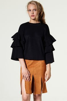 Hoa Frill Layered Sleeve Sweater Discover the latest fashion trends online at storets.com