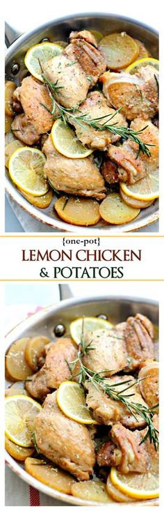 One-Pot Lemon Chicken and Potatoes | www.diethood.com | This delicious, flavorful dish with chicken and potatoes is a complete meal made all in one pan and in just 30-minutes! | #chicken #potatoes
