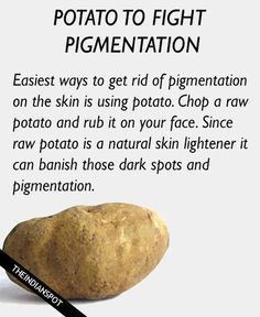 Beauty Tips Potato for pigmentation and dark spots - Skin pigmentation is a very common nowadays. It is basically a condition where dark patches appear on the skin. Production of melanin can cause pigmentation and many other aspects like sun damage, pol Homemade Skin Care, Diy Skin Care, Homemade Beauty, Skin Tips, Skin Care Tips, Raw Potato, Spots On Face, Tips Belleza, Natural Home Remedies