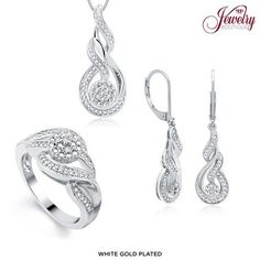 3-Piece Set: 1/10 Carat Total Weight Genuine Diamond Sweet Swirl Jewelry - Assorted Finishes at 75% Savings off Retail!