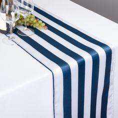 Wonderful Navy Blue U0026 White Striped Satin Table Runner