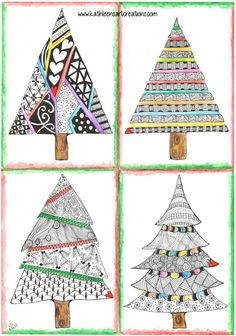 "Whimsical Zentangle® Inspired ""Four Christmas Trees"" finished 7-31-14. A 12-pack of note cards are available for $23.00 with FREE shipping and handling. Prints also available plus much more."