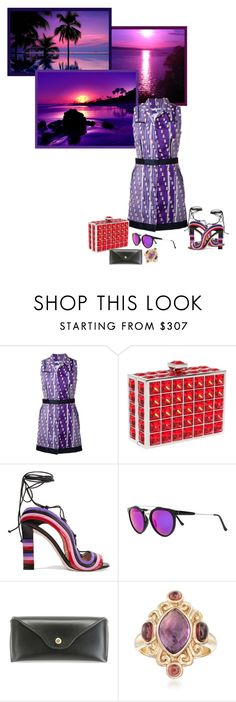 """""""A Red & Purple Sunset"""" by freshstart60 ❤ liked on Polyvore featuring Carven, Judith Leiber, Paula Cademartori, RetroSuperFuture and Ross-Simons"""