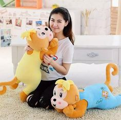 SST*60cm Lovely Toys lie prone posture Banana Monkey doll pillow nap Stuffed dolls send children girls Plush Monkey High quality