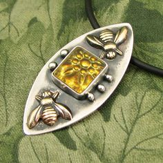 """Brass Bees and Golden Flower """"Circling"""" pendant - Sterling with Pressed Glass Tessera - OOAK by marybird on Etsy"""