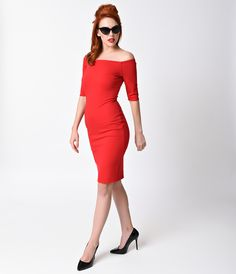 1960s Style Dresses- Retro Inspired Fashion 1960s Style Red Sleeved Bardot Stretch Wiggle Dress $68.00 AT vintagedancer.com