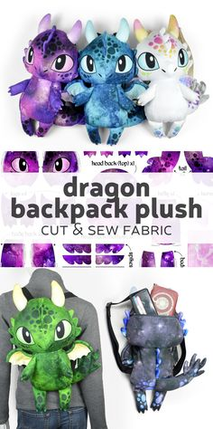 Dragon backpack plush fabric kit from Spoonflower custom fabric printing