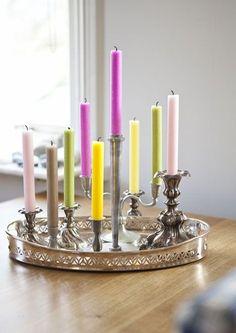 inspiracje w moim mieszkaniu: Neonowe świece, trend tej jesieni / Neon candles, ...