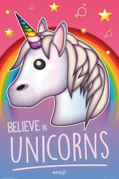 poster in lijst Emoji Believe in Unicorns 30 x 40 cm Cute Unicorn, Rainbow Unicorn, Emoticon, Unicorn Poster, Unicorn Logo, Believe, New York Poster, Poster Online, Pastel Candy