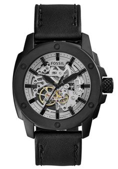 cdd02ff73bf1 Fossil ME3134 Modern Machine Automatic Leather Black Relojes Fossil