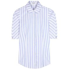 Thom Browne Striped Cotton Blouse (398,940 KRW) ❤ liked on Polyvore featuring tops, blouses, white, white cotton tops, white cotton blouse, stripe blouse, white striped top and white tops