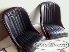 SB low back bucket Bomber style seats . red hot rod stitch pattern red welt black vinyl .fit perfect in hot rods, sports cars and replicas . @eddiebarrettinc #lowbackbucketseats #bomberseat