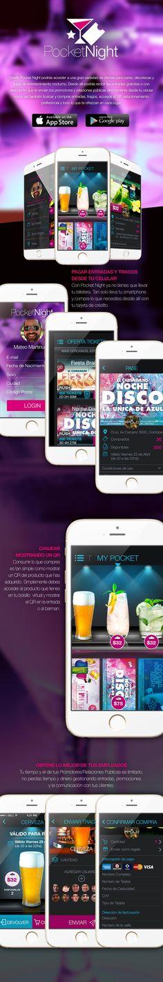 UX/UI para Pocket Night. Es una aplicación mobil exclusiva para dispositivos iOS y Android donde los usuarios pueden acceder a una gran variedad de ofertas para bares, discotecas y lugar de entretenimiento nocturno.