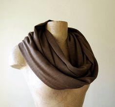 INFINITY scarf in chocolate brown cotton jersey slub  by EcoShag, $28.00