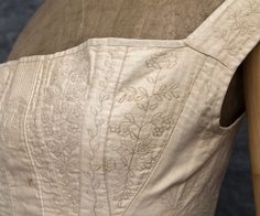 Hand-embroidered wedding corset, c.1820-40. Made from ivory cotton, CT provenance. $1,975