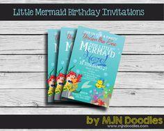Little Mermaid Birthday Invitation Under the Sea by MJNDoodles