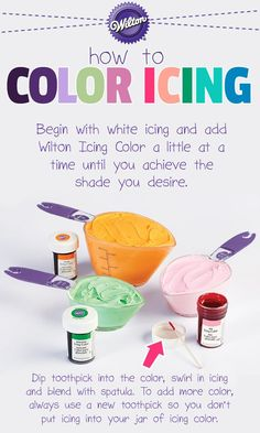Choosing appropriate colors for your cakes will help you capture just the mood you want for any occasion! Match your grad colors! Frosting Colors, Icing Frosting, Frosting Tips, Cake Icing, Frosting Recipes, Wilton Icing, Cake Cookies, Cookies Et Biscuits, Cupcake Cakes