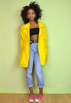 YELLOW VINTAGE RAIN MAC TRENCH COAT