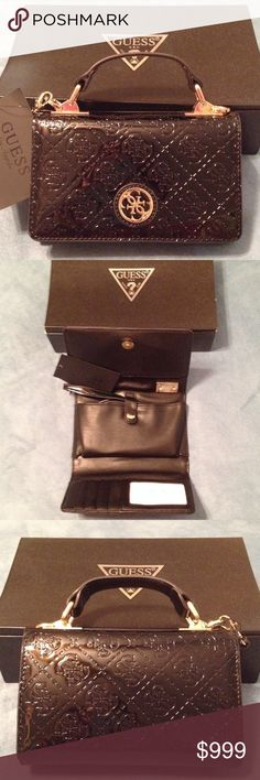 """🔮 GUESS Cindy Crossbody /Phone Case Patent BLK Gorgeous GUESS Black Patent Leather """"Cindy"""" Cross body / Phone Case for Lightweight Elegance & Style , whether it's a Romantic Night on the Town, a City Classic, or a Favorite Get-a-way. Leave them Guessing , in Style👝 6""""W X 4""""H X 1"""" D. Magnetic snap closures. Swivel crab claw gold tone hardware with matching patent on the strap. NWT. Price firm unless bundled. GUESS Bags Crossbody Bags"""