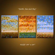 Original de arte abstracto pintura paisaje contemporáneo moderno tríptico cuadros grandes... rojo amarillo verde azul marrón... Tierra, mar y cielo