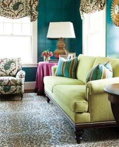 Living Room With Teal Walls, Lime Green Sofa U0026 Paisley Shades    Kansas City