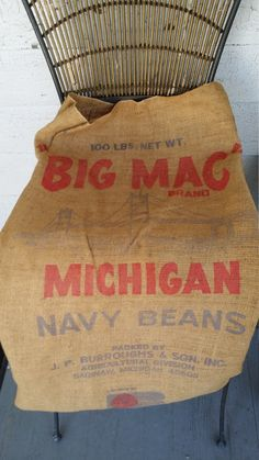 Burlap Feed Sack - Big Mack Brand Michigan Navy Beans by BabyBAntiques on Etsy