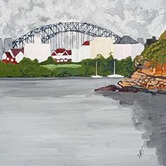 """Cloud Cover. Whiting Beach looking towards the Sydney Harbour Bridge"" by David Foster. Paintings for Sale. Bluethumb - Online Art Gallery"