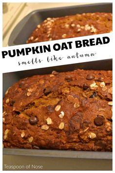 Pumpkin Oatmeal Bread | Teaspoon of Nose Oatmeal Bread Recipe, Oatmeal Banana Bread, Pumpkin Oatmeal, Oatmeal Recipes, Canned Pumpkin, Pumpkin Bread, Pumpkin Recipes, Fall Recipes, Sweet Recipes