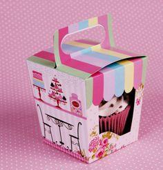 Caixa decorada para cupcakes, que você pode dar como lembrancinha na sua festa.