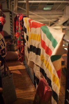Vintage Hudson Bay blankets.