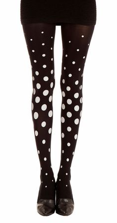 Create a fun & stylish Look with these Miss Dota Polka Dot Print Patterned Tights Black & Grey #TrendyLegs
