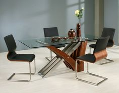 Pastel Furniture Akasha 5 Piece Glass Top Dining Table Set in Steel and Walnut (Brown) Booth Dining Table, Glass Top Dining Table, Walnut Dining Table, Dining Table In Kitchen, Dining Room Sets, Dining Area, Pastel Furniture, Dining Furniture, Cool Furniture