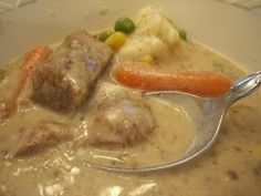 Creamy Crock Pot Stew Serve over mashed potatoes on a cold night MMM!