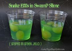 swamp-y color and tastier than lime, okay how about voka soaked grapes in a jello, for a swamp shot. or even just eat the voka grapes without the jello