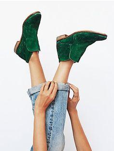emerald suede booties