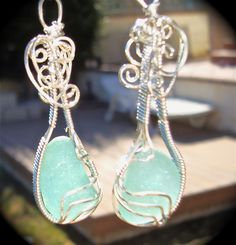 Sea glass wire wrapped earrings.