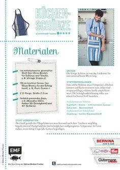 Stoff, Schnitt & Stich – Sew Along Die Materialliste zur Anfertigung der Küchenschürze. Mehr Infos unter stoff-schnitt-stich.tumblr.com