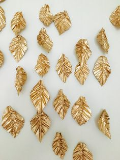 Gold Leaf Garland Bunting Gold Leaves Baby Mobile by LObungalow