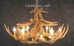 Antler Chandeliers - Whitetail 12 Cast Antler Chandelier w/ Downlight | Rustic…