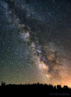 First-time Perseid meteor photographer Barbara Matthews sent in a photo of a meteor taken in Nevada County, California from a vista point along Highway 20, on August 7, 2013.