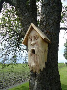 Original hand carved Cedar wood birdhouse Old by OsborneArtwork