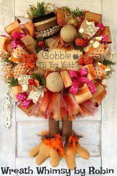 Collection of fall, Halloween and Christmas wreaths made with mesh, florals, grapevine, signs and seasonal decorations. Thanksgiving Wreaths, Fall Wreaths, Thanksgiving Decorations, Mesh Wreaths, Seasonal Decor, Halloween Decorations, Christmas Wreaths, Fall Decorations, Easter Wreaths
