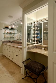 Bathroom remodels, Daniels Design and Remodeling, tile floors, bright lighting, contemporary, powder room, cream cabinets, granite sink, double sink, large bathroom, vanity, glass shelves,