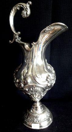 Grande jarra em metal prateado, marca Sheffield 40cm