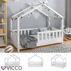 VitaliSpa cot house bed DESIGN white fence children bed wood house house bed- VitaliSpa Kinderbett Hausbett DESIGN weiß Zaun Kinder Bett Holz Haus Hausbett Item description This stylish and equally … - Baby Bedroom, Baby Boy Rooms, Baby Room Decor, Kids Bedroom, Bedroom Decor, Toddler Floor Bed, Toddler House Bed, Toddler Rooms, Toddler Boy Beds
