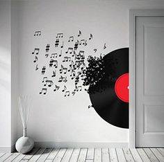 Record Blowing Music Notes Sticker 63 x 53.1 by homeartstickers